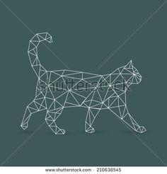 Geometric cat - vector illustration Plus