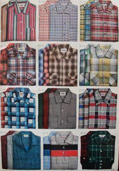 1950s mens plaid shirts. Button down shirts and a few polo shirts. 1951