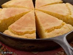 Cornbread 3 c cornmeal 1 c all-purpose flour 2 c milk 2 eggs 1/4 c vegi oil 2 tbls sugar 1 tbls baking powder 1 1/4 tsp salt Preheat oven to 450 degrees F. Coat a 10-inch cast iron skillet or 8-inch square baking dish with nonstick cooking spray In a large bowl, combine all ingredients; mix well then pour batter into prepared baking pan Bake 30 to 35 minutes, or until golden and a wooden toothpick inserted in center comes out clean. Cut and serve warm, or allow to cool before serving.