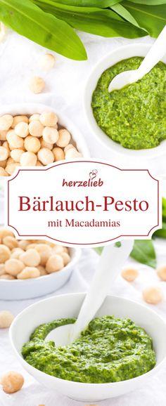 Bärlauch Rezepte sind was Feines! Dieses Bärlauch Pesto von herzelieb ist ganz schnell zubereitet und es passt zu Nudeln, Fleisch Fisch, Brot und Kartoffeln.