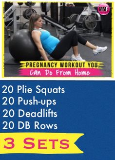 Pregnancy workouts like this will help prevent excess weight gain so you look and feel good during pregnancy, have less aches and pains, tons of energy and feel confident.  These pregnancy exercises will help you also to lose your baby weight faster postpartum.  All these pregnancy exercises are safe to do in every trimester.  Great pregnancy diet and workout tips in this blog.  http://michellemariefit.publishpath.com/pregnancy-exercise-plan-you-can-do-from-home