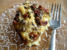 Bacon Mushroom Breakfast Casserole. Very good! I think maybe a little less milk next time for a firmer casserole. It was pretty mushy even after cooking it longer than noted. But, the taste? Mmmmmmmm....