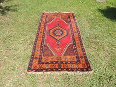 Vintage wool Turkish area rug