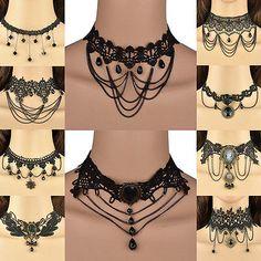 Sparkle Negro Perlas Encaje Cadena Gótico Victoriano Gargantilla Collar Colgante