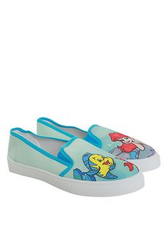 OMG OMG OMG PLEASE. OMG I love these. I NEED these! #mermaid #size10 #onsale!!! http://www.hottopic.com/hottopic/Girls/Shoes/Sneakers/Disney+The+Little+Mermaid+Ariel+Slip-On+Sneakers-10187909.jsp