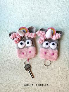 Crochet Keychain, Cute Keychain, Keychains, Crochet Dolls, Crochet Hats, Small Crochet Gifts, Key Covers, Key Case, Unicorn Gifts