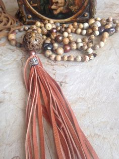 SALE Jasper pearls and leather in shades of by JulieMoloneyDesigns