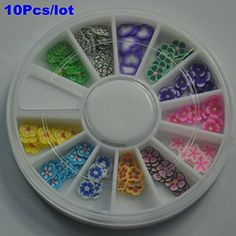 G-Beauty : 10Pcs/lot 3D Wheel Mixed Fimo Clay Nail Art Tips Slice Acrylic Flower Decoration Manicure *** Learn more by visiting the image link.