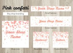 Etsy shop banner set, pink etsy cover banner, watercolor shop banner, premade confetti banner set, shop graphics, gold banner, pastel pink by GiuliaBelfioriGadget