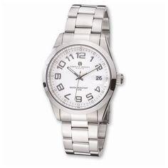 Mens Charles Hubert Stainless Steel White Dial Watch
