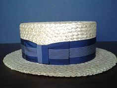 Items similar to Unique Italian Vintage, Boater Straw Boy's Hat Band in Navy Blue on Etsy Mens Dress Hats, Sinamay Hats, Grown Man, Boater, Vintage Italian, Hats For Men, Grosgrain Ribbon, Supreme Clothing, Fedoras