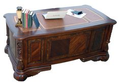 """I love this """"feel"""". I love the look of the desk top. I like the ornate wood carvings. I do not like the protruding corners."""