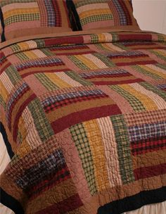 All Cotton King Size Quilt Vintage Block Design- LOVE the matching pillow shams!