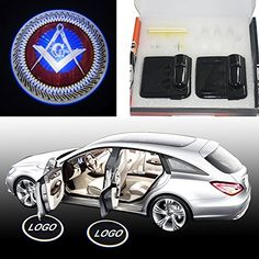Spoya Mason Masonic square Wireless Magnetic Car door step LED welcome logo shadow ghost light laser projection projector light ** Click on the image for additional details. (This is an affiliate link)
