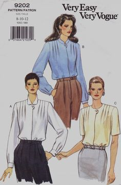 250a7e9ae32 90s Womens Front Tuck Blouses Collar Variations Very Easy Very Vogue Sewing  Pattern 9202 Size 14 16 18 Bust 36 38 40 Suit Blouse Pattern