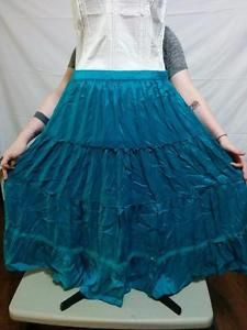 Teal Satin Hippie Peasant Skirt New Directions Size XL Lace Trim Huge Sweep  | eBay