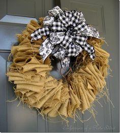 Burlap, Black Check and Toile Wreath