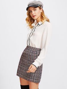 Dotfashion Zip Back Tweed Winter Skirt Women 2019 New Arrival Multi Plaid Cute Bottoms For Ladies A Line Short Skirt . Find more ideas click the picture . High Waisted Plaid Skirt, Plaid Skirts, Leather Midi Skirt, Tweed Skirt, Casual Elegant Style, Short Skirts, Mini Skirts, Suspenders For Women, Embellished Skirt