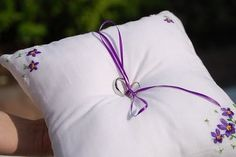 ring pillow made from an old handkerchief embroidered by the bride's grandmother Altering Clothes, Ring Pillow, Something Old, Budget Wedding, Sewing Crafts, Repurposed, Budgeting, Bed Pillows, Recycling