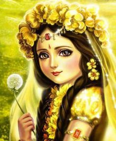 Radha is the Supreme Energy of Love for God. She is the Krishna in the male form. Radha and Krishna is the one Person in two body. It took 7 hours to pa. Radha and flower Baby Krishna, Cute Krishna, Jai Shree Krishna, Lord Krishna Images, Radha Krishna Pictures, Radha Krishna Photo, Radha Krishna Love, Krishna Photos, Radhe Krishna
