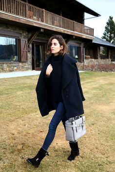 Gala Gonzalez Amlul | Mango Premium coat TopShop jeans Zadig&Voltaire sweater Carolina Herrera boots Reed Krakoff bag #streetstyle