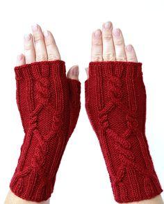 Hand Knitted Fingerless Gloves Red Gloves & by nbGlovesAndMittens