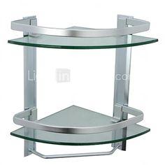 Estantería de Baño aluminio Montura en Pared 35.5cm(14'')*24.5cm(9.6'')*35.5cm(14'') Aluminio / Vidrio Templado Contemporáneo - EUR €51.93