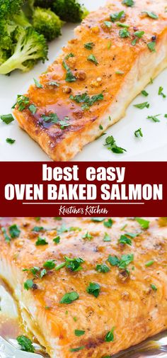 The best easy oven baked salmon recipe! The salmon is cooked in a honey garlic s… The best easy oven baked salmon recipe! The salmon is cooked in a honey garlic sauce that is so flavorful! This baked salmon is one of our favorite healthy dinner recipes! Seafood Dishes, Seafood Recipes, Cooking Recipes, Recipes Dinner, Dinner Ideas, Oven Baked Salmon, Salmon In Oven Recipes, Best Salmon Recipe Baked, Simple Salmon Recipe