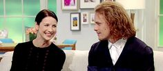 "(gif) - ""Lorraine,"" 24 March 2015 : [And you two are really good mates.]  Caitriona: ""Well...""  Sam: ""Well..."""