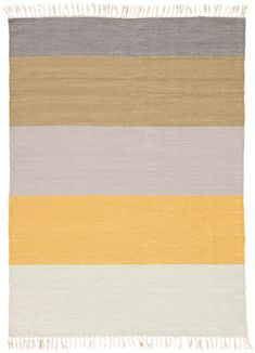 The Desert Swane area rug introduces classic Southwestern style to modern homes. Constructed of weather-resistant polyester, this hand-loomed flatweave boasts incredible durability for both indoor and outdoor use. The bold stripe design showcases a neutral gray, gold, and white colorway, accented with knotted fringe for added texture and charm.