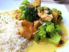 Hier habe ich mal wieder ein All-in-One Gericht für Euch. Pute in einer Currysauce, mit knackigem Brokkoli, begleitet von Reis und Mandeln. Wie hört sich das an ?    Ihr benötigt:…