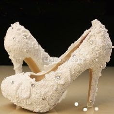 Elegant White Lace Beading Wedding Shoes : Tidebuy.com