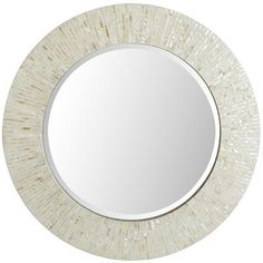 "Ivory Mother-of-Pearl Mirror - 31"" Round"