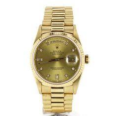Second Hand Rolex Day Date 18238 CHAM DD. Preowned watches from the UK's premier outlet for luxury watches. Luxury Watches, Rolex Watches, Second Hand Rolex, Watch Blog, Rolex Day Date, Gold Watch, Stuff To Buy, Accessories, Style