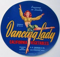 DANCING-LADY-Vintage-Vegetable-Crate-Label-Pinup-AN-ORIGINAL-VEGGIE-LABEL