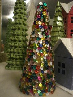 Bee In My Bonnet: My Christmas Village and a tutorial on how I made my trees ...