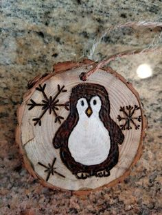 Rustic wood burned Christmas ornament