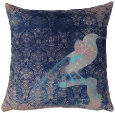 Cushion - Faded Birds - of paradise - blue - Kerrie Brown
