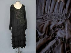 1920s long-sleeve silk dress with pleated, cascading ruffles and honeycomb smocking.
