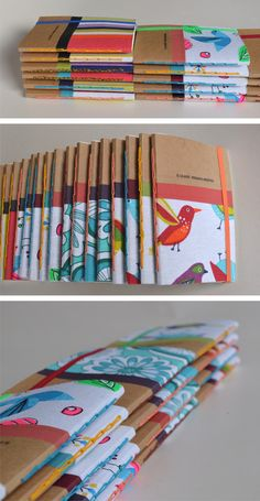 ~~~ Libretas y blocks ~~~ Really cute bookbinding method if you only use one signature inside, vertical coptic bind Handmade Notebook, Diy Notebook, Handmade Journals, Handmade Books, Journal Covers, Journal Notebook, Book Covers, Diy Cahier, Book Crafts