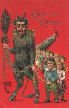 Antique Krampus postcard