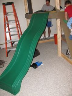 Project Playroom– Building a Reading Loft / Fort / Indoor Treehouse: The Building Continues Part Loft for play room … with slide Indoor Playset, Kids Indoor Playhouse, Indoor Playroom, Build A Playhouse, Indoor Playground, Playroom Slide, Basement Play Area, Playroom Ideas, Loft Playroom