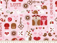 Cotton+Fabric+Heart+Owl+By+the+Yard+11281206+by+SunFabrics+on+Etsy,+$11.30
