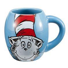 Dr. Seuss Cat in the Hat 18 oz. Ceramic Oval Mug Blue Kids Collectible #Vandor