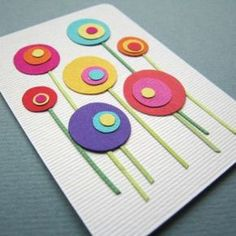 ideas diy paper flowers for cards punch art Kids Crafts, Diy And Crafts, Craft Projects, Arts And Crafts, Flower Cards, Paper Flowers, Diy Flowers, Art Carte, Mothers Day Crafts