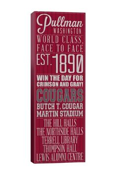 Washington State University School Pride Canvas Wall Art by Campus Pride: Claim Your University on @HauteLook
