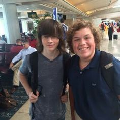 Chandler Riggs with a fan