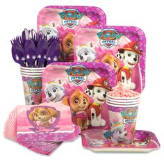 Paw Patrol Pink Standard Tableware Kit (Serves from Wholesale Party Supplies is the perfect touch to your Paw Patrol Pink birthday bash Girls Paw Patrol Cake, Girl Paw Patrol Party, Paw Patrol Birthday Theme, Paw Patrol Party Supplies, Paw Patrol Torte, Skye Paw Patrol Cake, Sky Paw Patrol, Paw Patrol Balloons, 4th Birthday Parties