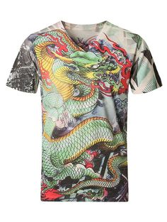 V-Neck 3D Dragon Pattern Short Sleeve Plus Size T-Shirt For Men - Gamiss