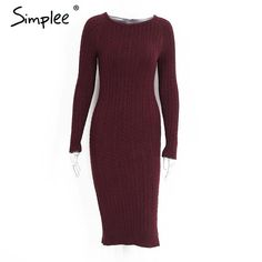 Simplee Elegant split knitted bodycon dress Women long sleeve evening party sexy dress Autumn winter warm midi dresses vestidos